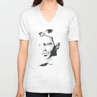 tesla V-neck T-shirts featuring Nikola Tesla by The Cracked Dispensary