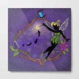 Sihouette Tinker Bell Metal Print