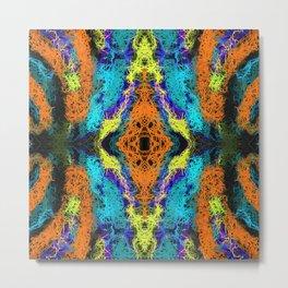 psychedelic graffiti geometric drawing abstract in orange yellow blue purple Metal Print