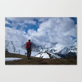 Hiker, Coudy Peak, Olympic National Park Canvas Print