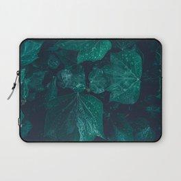 Dark emerald green ivy leaves water drops Laptop Sleeve