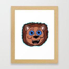 Cartoon Lion Head Framed Art Print