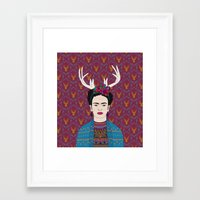 frida Framed Art Prints featuring DEER FRIDA by Bianca Green