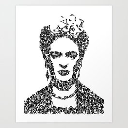 Kanji Calligraphy Art :Frida[black] Art Print