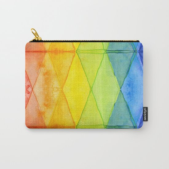 Geometrict Abstract Rainbow Watercolor Pattern Carry-All Pouch