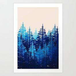 Pine Forest - Blue Light Art Print
