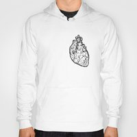 anatomical heart Hoodies featuring Anatomical Heart by Horse and Hare