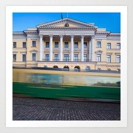Helsinki Senate Square and a tram in motion Art Print