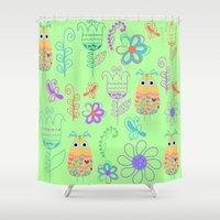 owls Shower Curtains featuring Owls by luizavictoryaPatterns