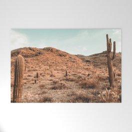 Saguaro Mountain // Vintage Desert Landscape Cactus Photography Teal Blue Sky Southwestern Style Welcome Mat