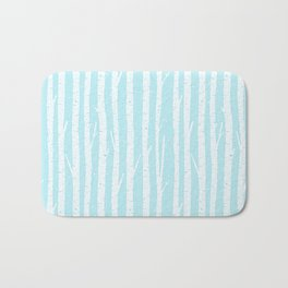 White winter birch forest- With snow covered trees- pattern on teal Bath Mat