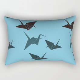 Blue origami cranes Rectangular Pillow