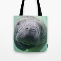 manatee Tote Bags featuring Manatee by Heidi Ingram