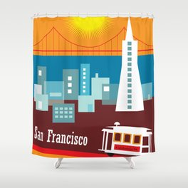 San Francisco, California - Skyline Illustration by Loose Petals Shower Curtain