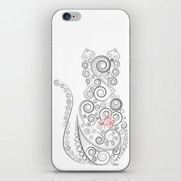 Black Cat on White World iPhone Skin