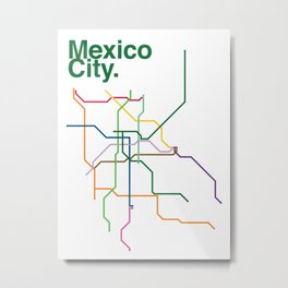 Mexico City Transit Map Metal Print