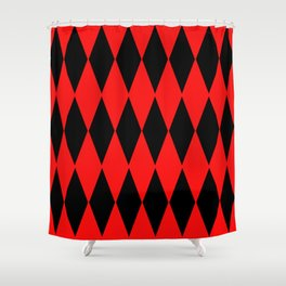 LARGE RED AND BLACK  HARLEQUIN DIAMOND PATTERN Shower Curtain