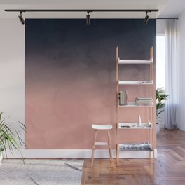 Modern abstract dark navy blue peach watercolor ombre gradient Wall Mural