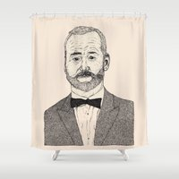 murray Shower Curtains featuring Bill Murray Portrait by Shane Noonan