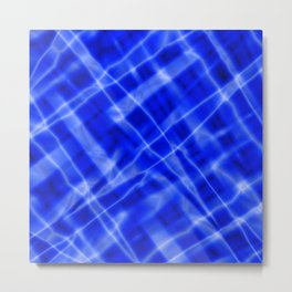 Pastel metal mesh with blue intersecting diagonal lines and stripes. Metal Print