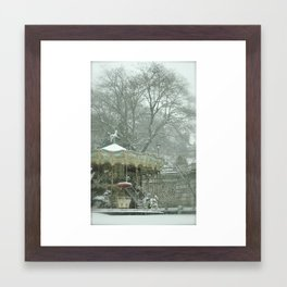 Snowy Carousel Paris Framed Art Print