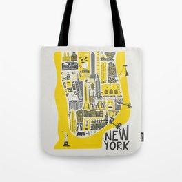 Manhattan New York Map Tote Bag