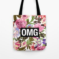 2pac Tote Bags featuring OMG by Text Guy