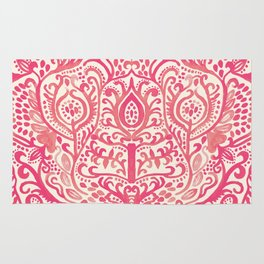Strawberry and Cream Watercolor Tulip Damask Rug