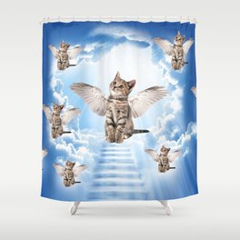 All Cats Go to Heaven Shower Curtain