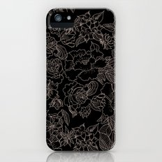 Pink coral tan black floral illustration pattern Slim Case iPhone (5, 5s)