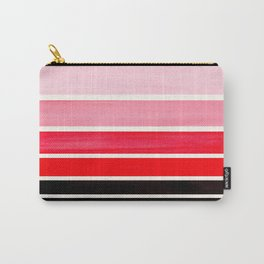 Red Minimalist Watercolor Mid Century Staggered Stripes Rothko Color Block Geometric Art Carry-All Pouch