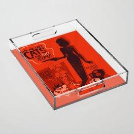 Cat Movie - orange Acrylic Tray