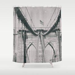 Brooklyn bridge, architecture, vintage photography, new york city, NYC, Manhattan view Shower Curtain