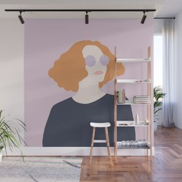 Orange Hair Girl // Minimalist Indie Rock Music Festival Lavender Sunglasses by Mighty Face Designs Wall Mural