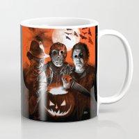 freddy krueger Mugs featuring Freddy Krueger Jason Voorhees Michael Myers Super Villians Holiday by Scott Jackson Monsterman Graphic