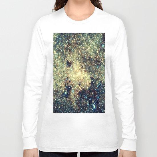 Galaxy Gold & Blue Stars Long Sleeve T-shirt
