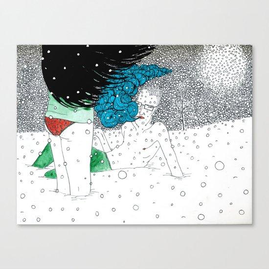 snow fight Canvas Print