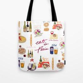 Paris Food Map Tote Bag