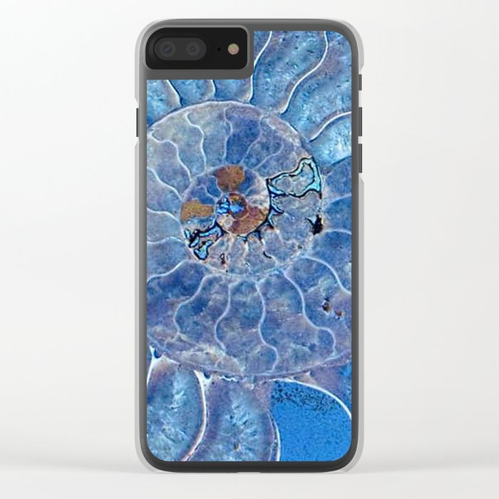 Blue seashell -mother-of-pearl - Beautiful backdrop Clear iPhone Case
