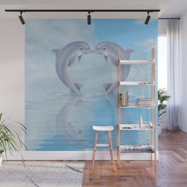Kissing dolphins Wall Mural