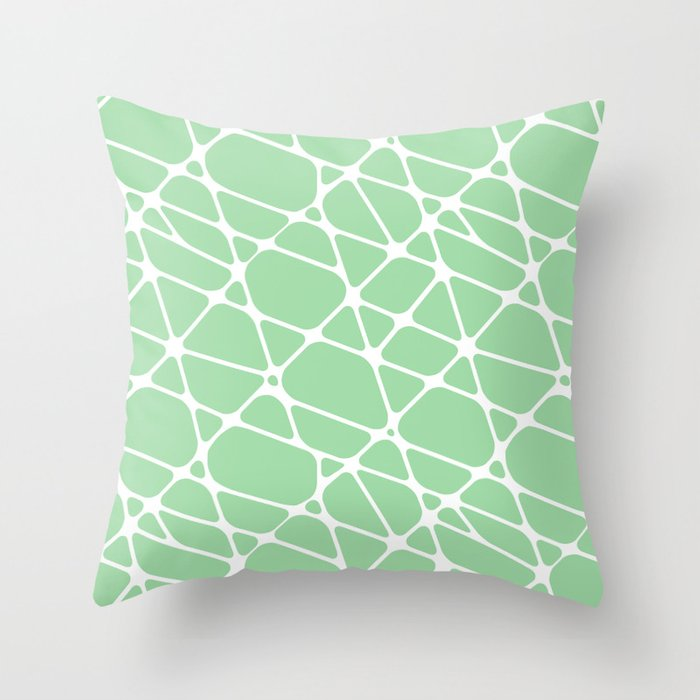 White & Pastel Green Abstract Mosaic Pattern 2 Pairs To 2020 Color of the Year Neo Mint 065-80-23 Throw Pillow