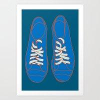 sneakers Art Prints featuring Sneakers by Sam Ayres