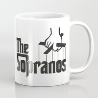 the godfather Mugs featuring The Sopranos Logo (Black) (The Godfather mashup) by Agu Luque