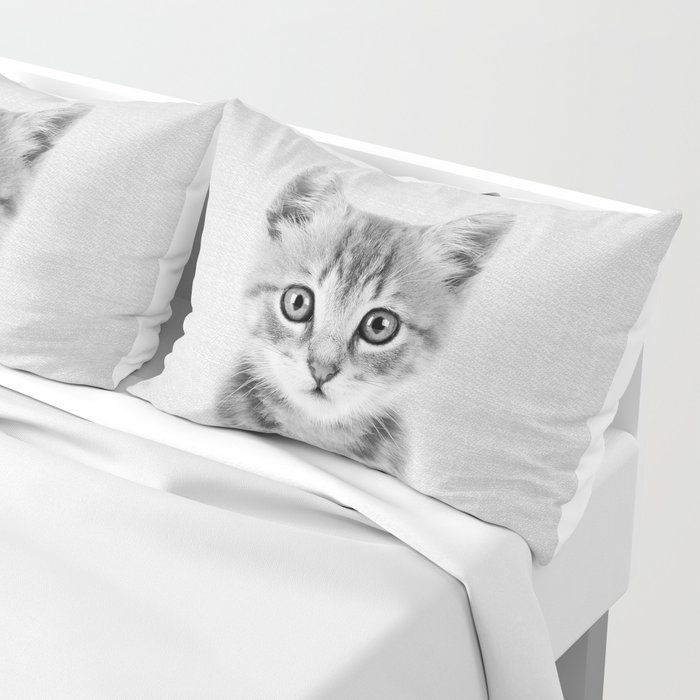 Kitten - Black & White Pillow Sham