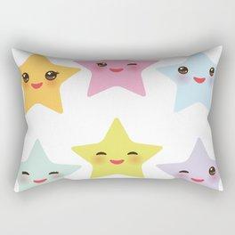 Kawaii stars, face with eyes, pink green blue purple yellow Rectangular Pillow