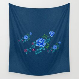 Blue Embroidery Rose Wall Tapestry