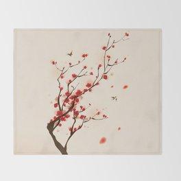 Oriental plum blossom in spring 005 Throw Blanket