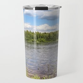 White clouds over the river. Travel Mug