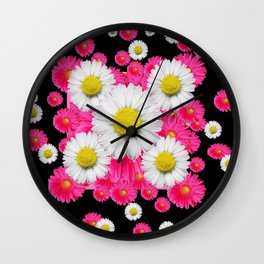 Festive Pink Gerbera & White Daisy Flowers Black Patterns Art Wall Clock