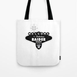LAS VEGAS RAIDERS SIGN WHITE STAND Tote Bag